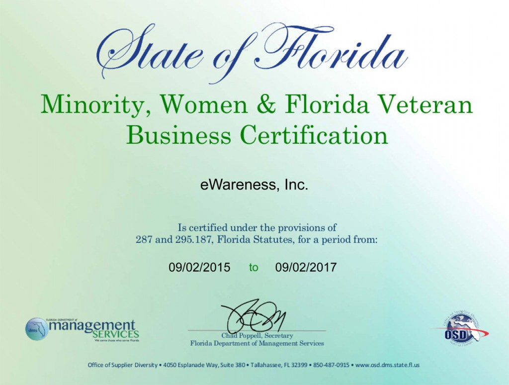 State of Florida Veteran Owned Business
