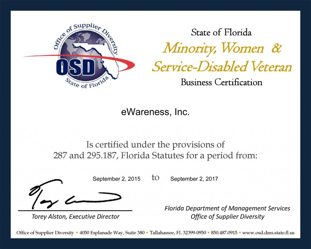 State of Florida Veteran Business Certification